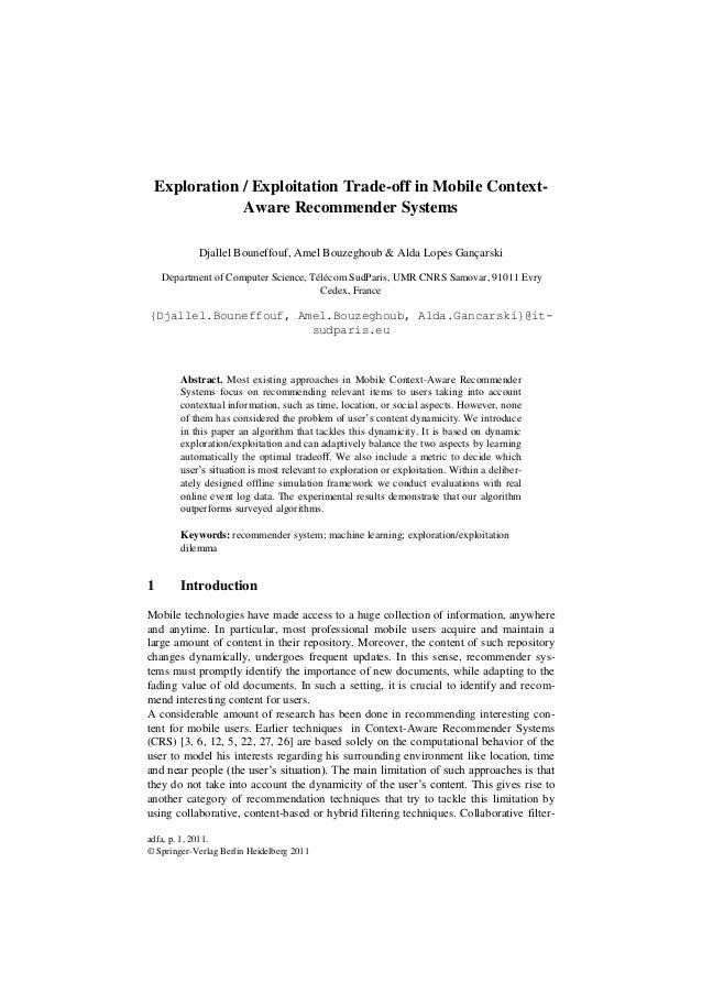 Exploration / Exploitation Trade-off in Mobile Context-                Aware Recommender Systems            Djallel Bounef...