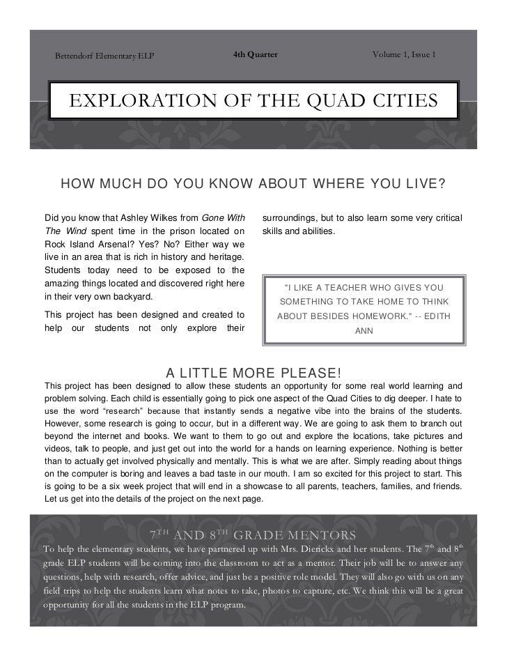 Bettendorf Elementary ELP                      4th Quarter                          Volume 1, Issue 1      EXPLORATION OF ...