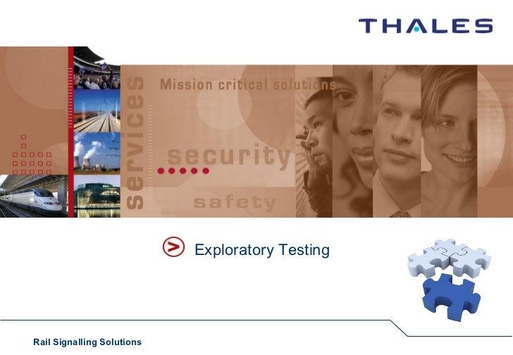 Exploratory TestingRail Signalling Solutions