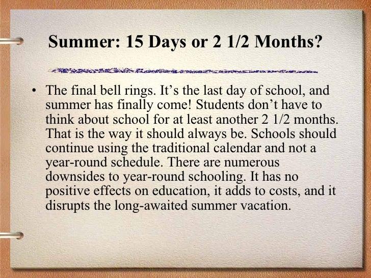 essay on year round schooling