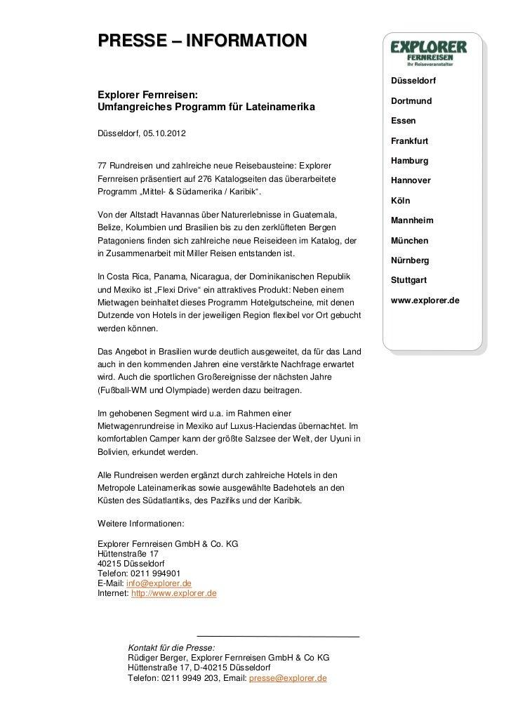 PRESSE – INFORMATION                                                                        DüsseldorfExplorer Fernreisen:...