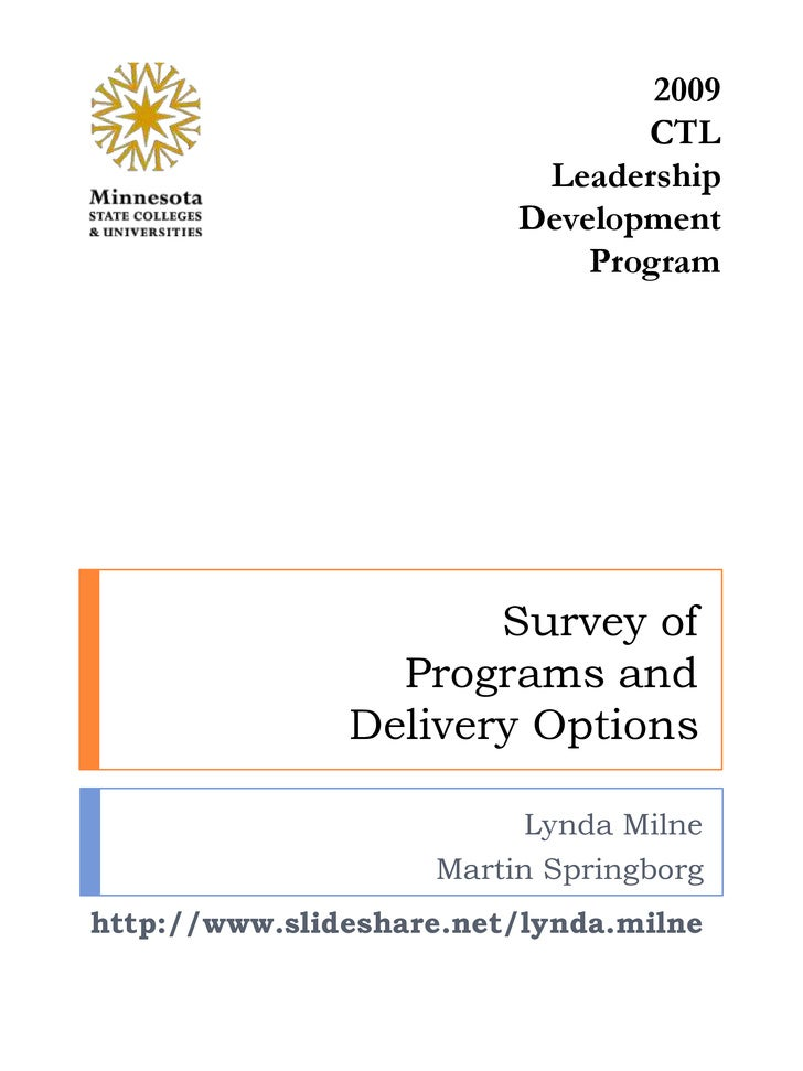 2009<br />CTL Leadership Development Program<br />Survey ofPrograms and Delivery Options<br />Lynda Milne<br />Martin Spri...