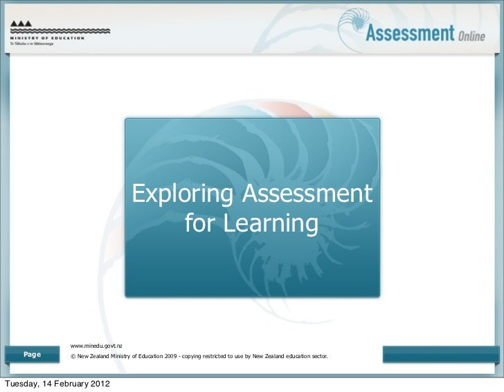 Exploring Assessment                                           for Learning               www.minedu.govt.nz    Page      ...