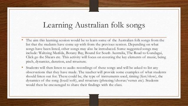 Need Help on assignment - Australian Bush Songs?