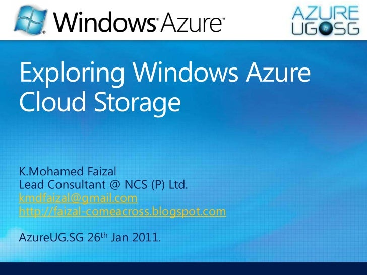 Exploring Windows Azure Cloud Storage