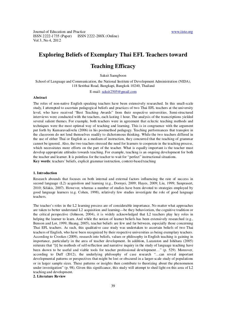 Exploring beliefs of exemplary thai efl teachers toward teaching efficacy