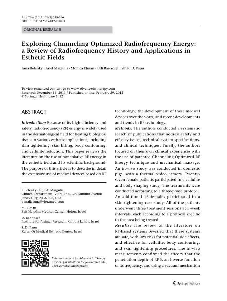 Adv Ther (2012) 29(3):249-266.DOI 10.1007/s12325-012-0004-1 ORIGINAL RESEARCHExploring Channeling Optimized Radiofrequency...