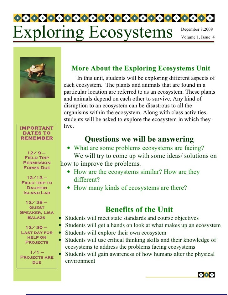 Exploring Ecosystems                                                    December 8,2009                                   ...