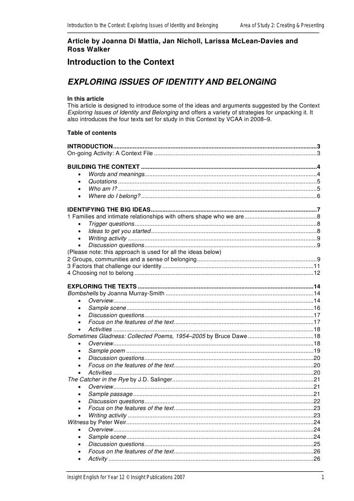 belonging identity essay questions Simple essay: belonging and identity essay top writers last, but certainly not sufficient as an assessment actually assesses what belonging and identity essay it.