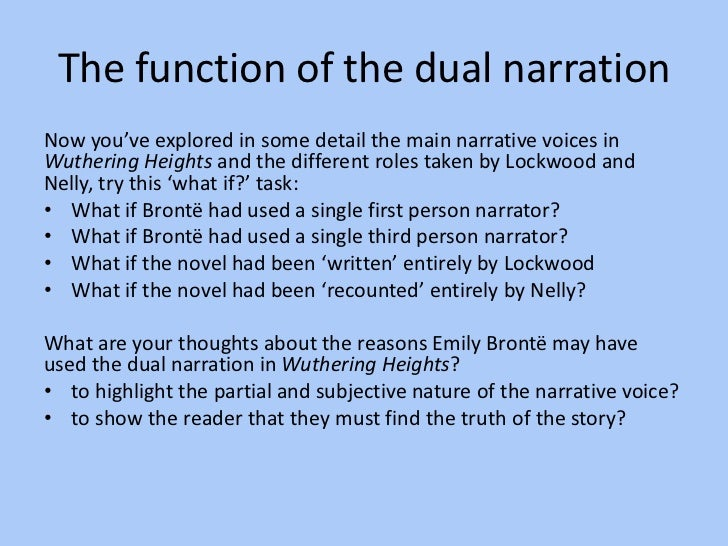 wuthering heights narrator essay