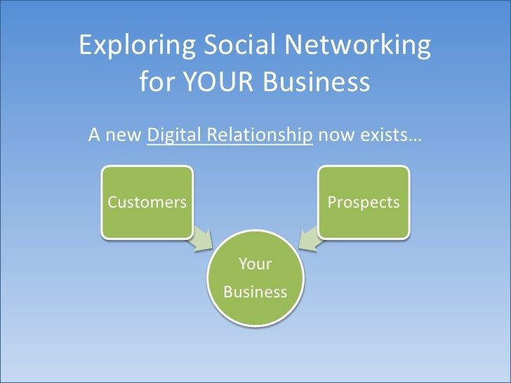 Exploring Social Networkingfor YOUR Business<br />A new Digital Relationship now exists…<br />