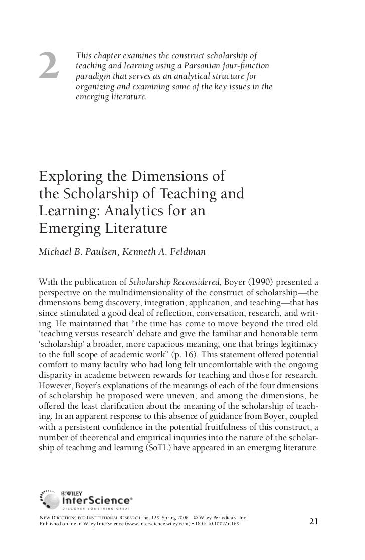 2               This chapter examines the construct scholarship of               teaching and learning using a Parsonian f...