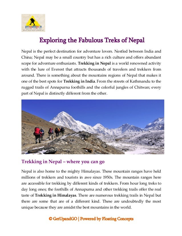 © GetUpandGO | Powered by Floating Concepts Exploring the Fabulous Treks of Nepal Nepal is the perfect destination for adv...