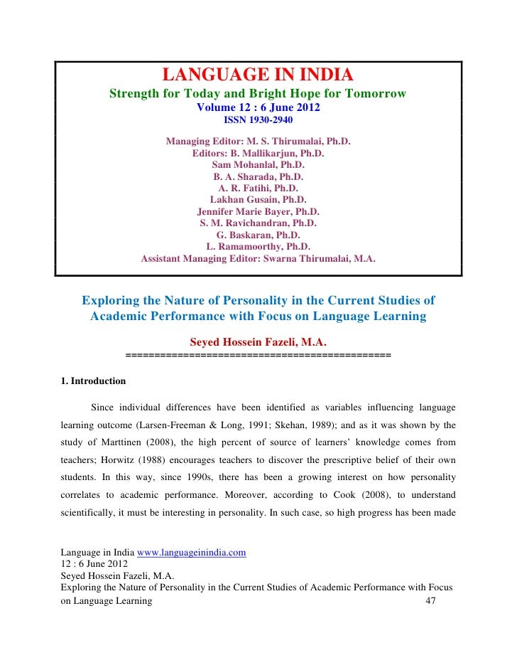 LANGUAGE IN INDIA            Strength for Today and Bright Hope for Tomorrow                                  Volume 12 : ...