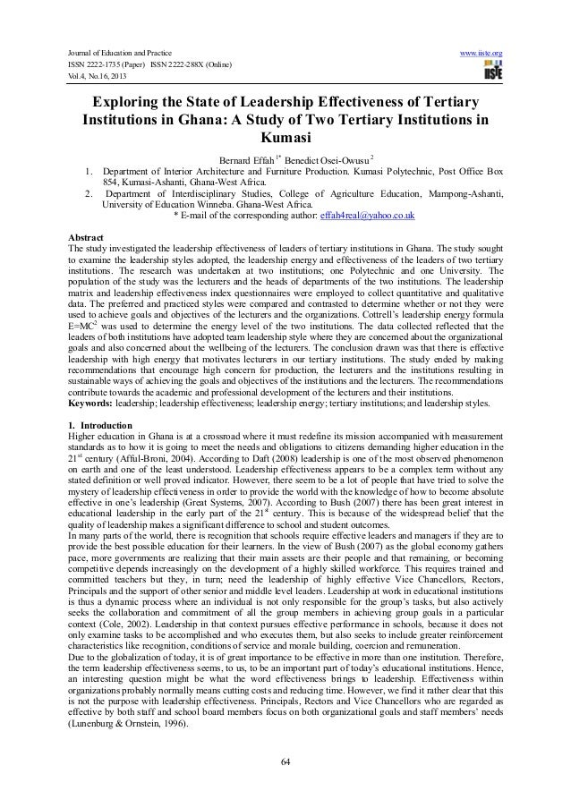 Journal of Education and Practice www.iiste.org ISSN 2222-1735 (Paper) ISSN 2222-288X (Online) Vol.4, No.16, 2013 64 Explo...
