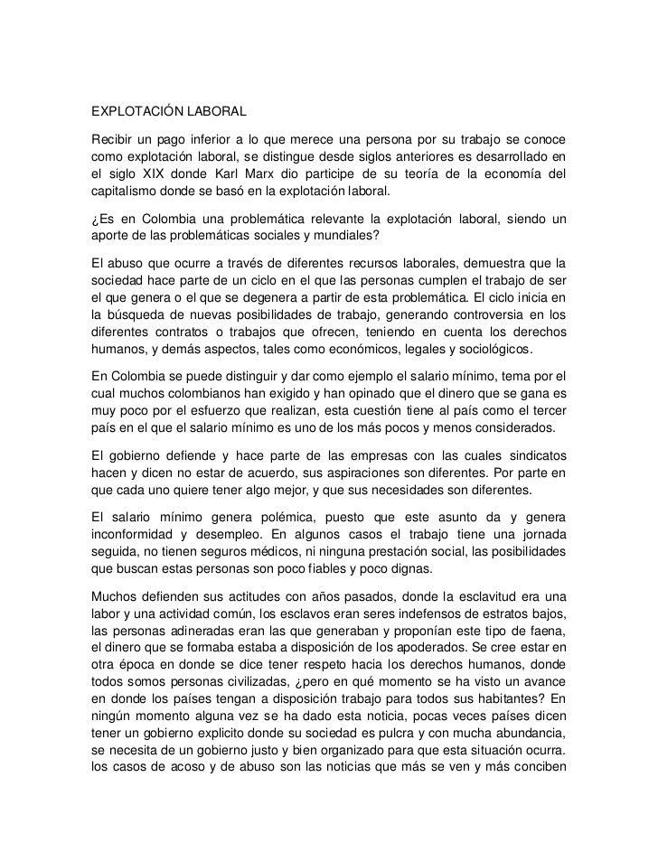 Explotación laboral en colombia