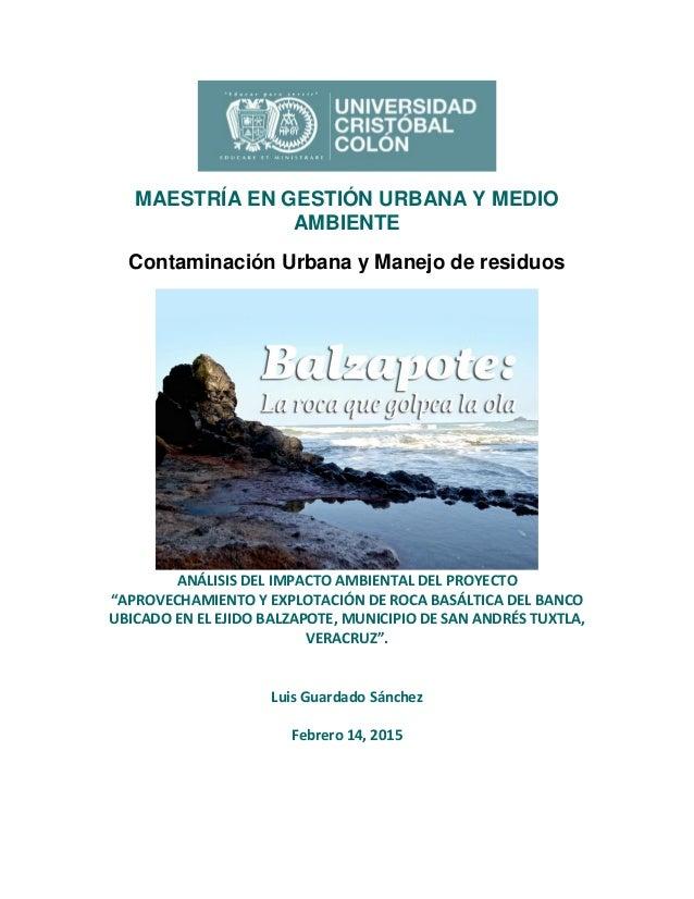 MAESTRÍA EN GESTIÓN URBANA Y MEDIO AMBIENTE Contaminación Urbana y Manejo de residuos ANÁLISIS DEL IMPACTO AMBIENTAL DEL P...