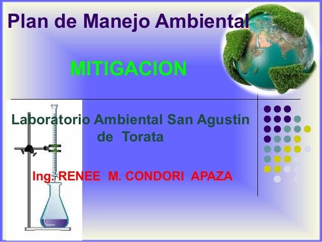 Plan de Manejo Ambiental MITIGACION Laboratorio Ambiental San Agustín de Torata Ing. RENEE M. CONDORI APAZA