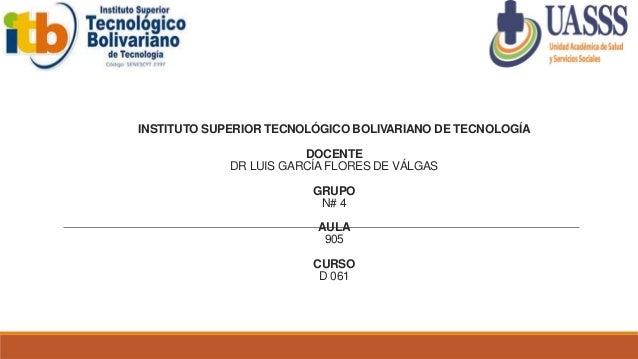 INSTITUTO SUPERIOR TECNOLÓGICO BOLIVARIANO DE TECNOLOGÍA DOCENTE DR LUIS GARCÍA FLORES DE VÁLGAS GRUPO N# 4 AULA 905 CURSO...