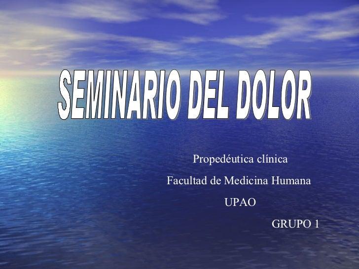 SEMINARIO DEL DOLOR Propedéutica clínica Facultad de Medicina Humana  UPAO GRUPO 1