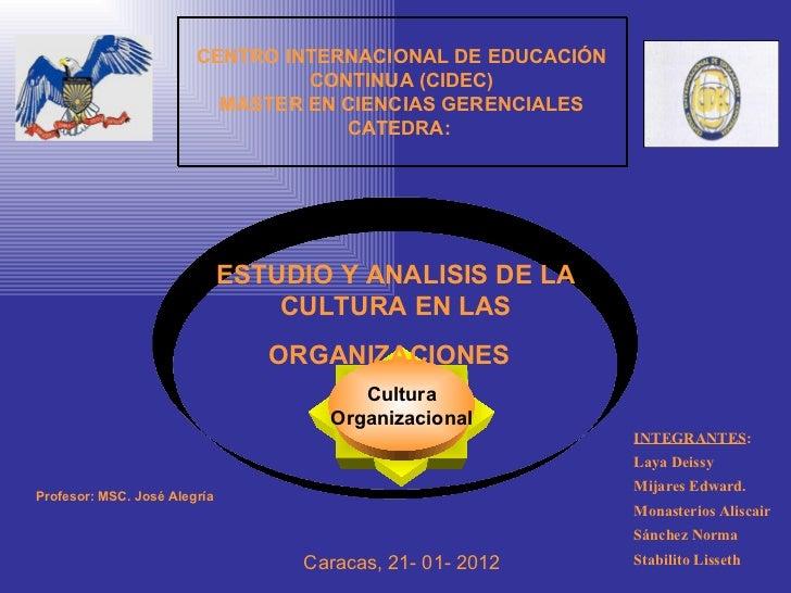 Exposición 1: Estudio y análisis de la cultura en las organizaciones