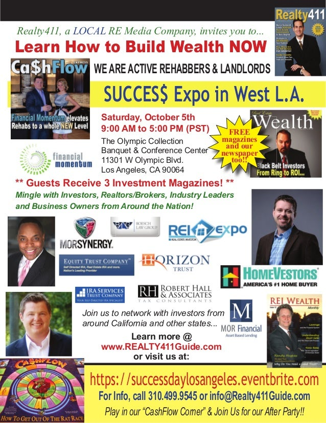 ** Guests Receive 3 Investment Magazines! ** Mingle with Investors, Realtors/Brokers, Industry Leaders and Business Owners...