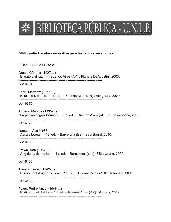 Bibliografía literatura recreativa para leer en las vacacionesSJ 821.112.2-31 GRA ej. 1Grass, Günther (1927-...)  El gato ...