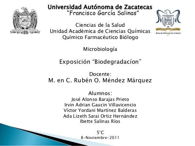 """Universidad Autónoma de Zacatecas      """"Francisco García Salinas""""         Ciencias de la SaludUnidad Académica de Ciencias..."""