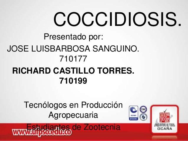COCCIDIOSIS.        Presentado por:JOSE LUISBARBOSA SANGUINO.            710177 RICHARD CASTILLO TORRES.            710199...