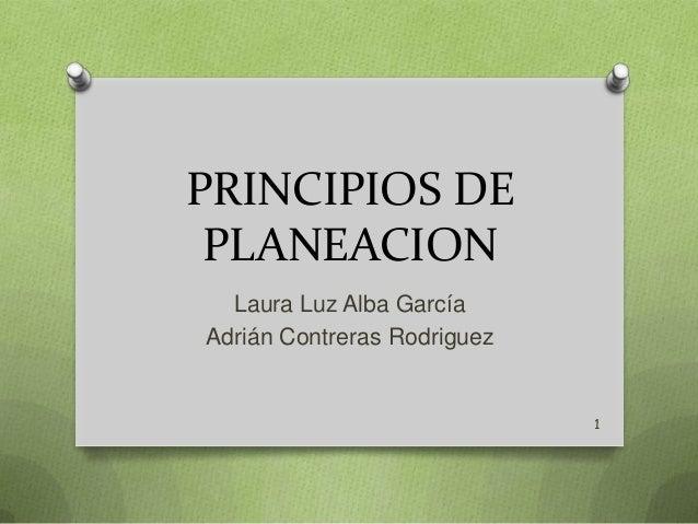 PRINCIPIOS DE PLANEACION Laura Luz Alba García Adrián Contreras Rodriguez  1