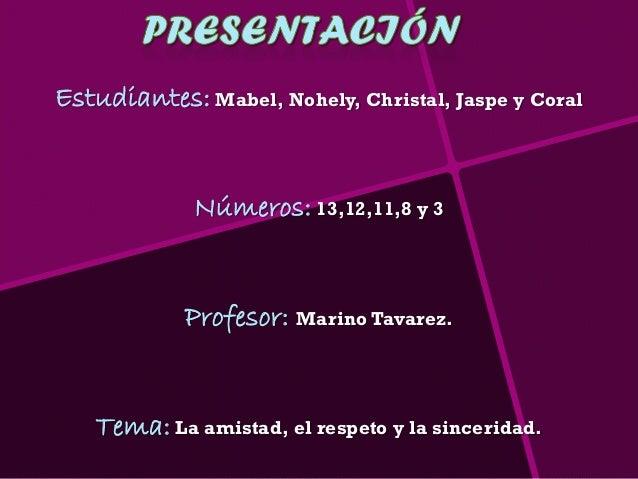 Estudiantes: Mabel, Nohely, Christal, Jaspe y Coral             Números: 13,12,11,8 y 3            Profesor: Marino Tavare...