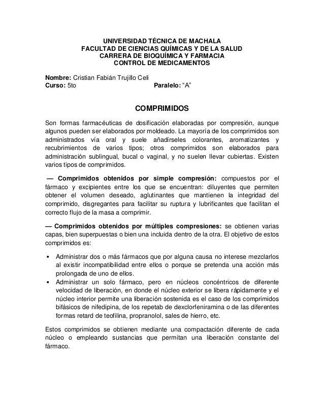 UNIVERSIDAD TÉCNICA DE MACHALA FACULTAD DE CIENCIAS QUÍMICAS Y DE LA SALUD CARRERA DE BIOQUÍMICA Y FARMACIA CONTROL DE MED...