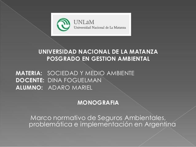 UNIVERSIDAD NACIONAL DE LA MATANZA POSGRADO EN GESTION AMBIENTAL MATERIA: SOCIEDAD Y MEDIO AMBIENTE DOCENTE: DINA FOGUELMA...