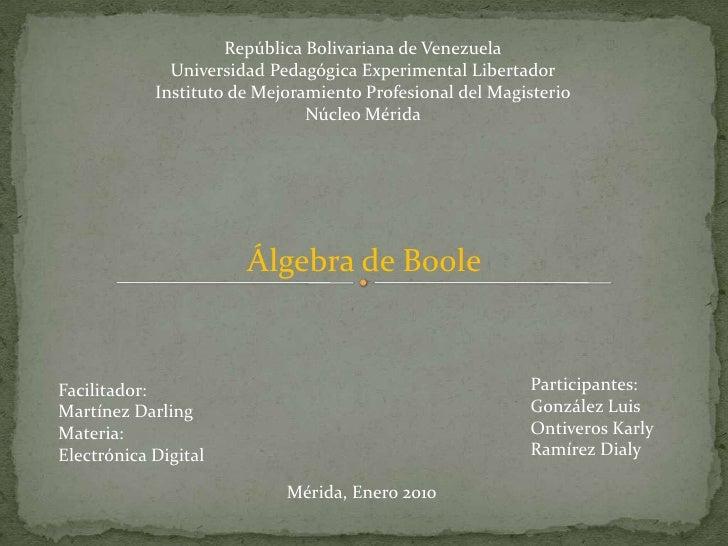 República Bolivariana de Venezuela               Universidad Pedagógica Experimental Libertador             Instituto de M...