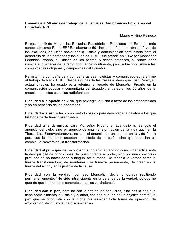 Homenaje a 50 años de trabajo de la Escuelas Radiofónicas Populares delEcuador-ERPE.                                      ...