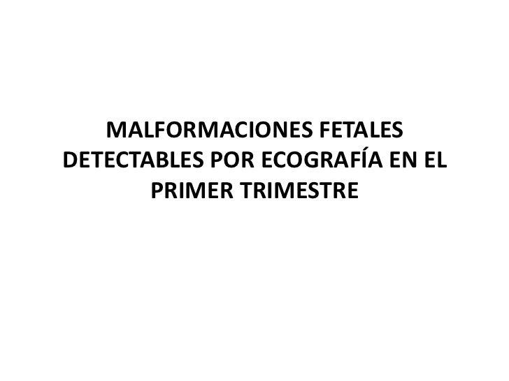 MALFORMACIONES FETALES DETECTABLES POR ECOGRAFÍA EN EL