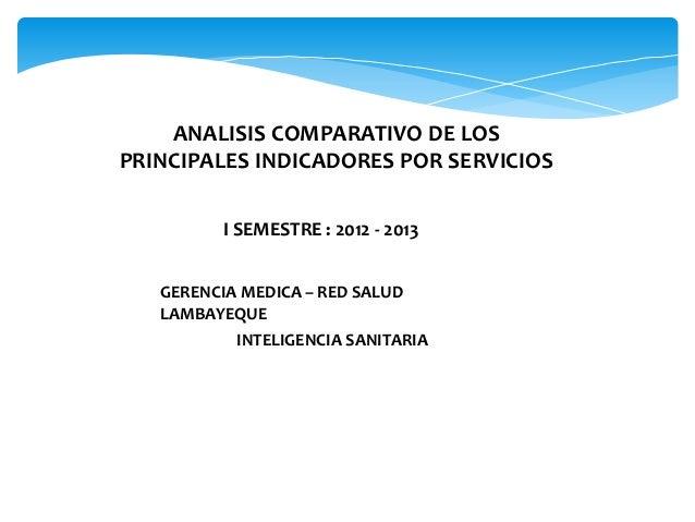 ANALISIS COMPARATIVO DE LOS  PRINCIPALES INDICADORES POR SERVICIOS  I SEMESTRE : 2012 - 2013  GERENCIA MEDICA – RED SALUD ...