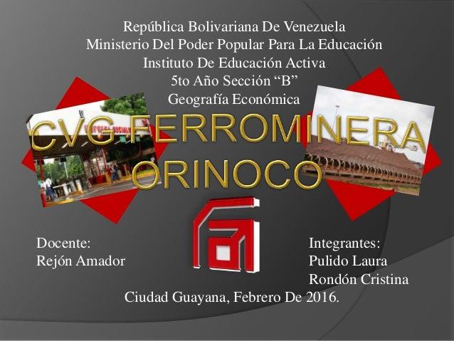 República Bolivariana De Venezuela Ministerio Del Poder Popular Para La Educación Instituto De Educación Activa 5to Año Se...
