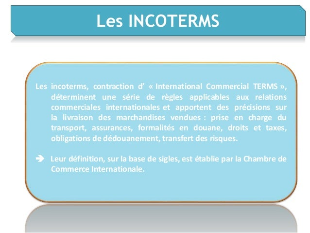 Logistique internationale for Chambre commerce internationale