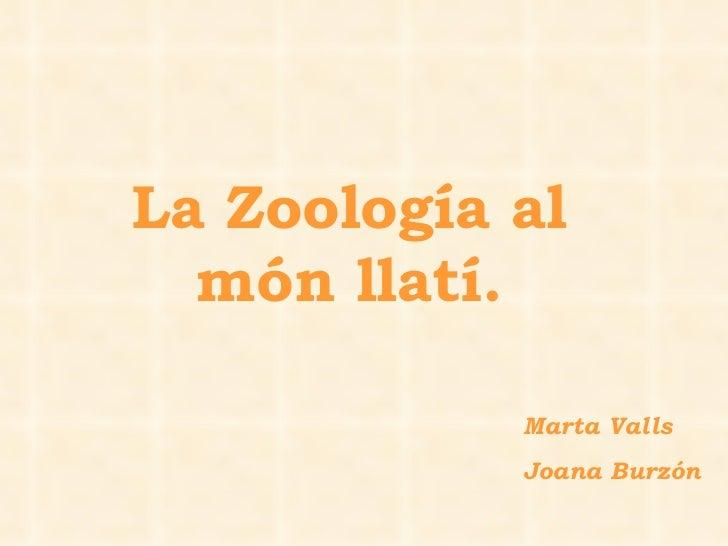 Marta Valls  Joana Burzón La Zoología al món llatí.