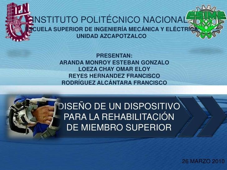 INSTITUTO POLITÉCNICONACIONAL<br />ESCUELA SUPERIOR DE INGENIERÍA MECÁNICA Y ELÉCTRICA<br />UNIDAD AZCAPOTZALCO<br />PRES...
