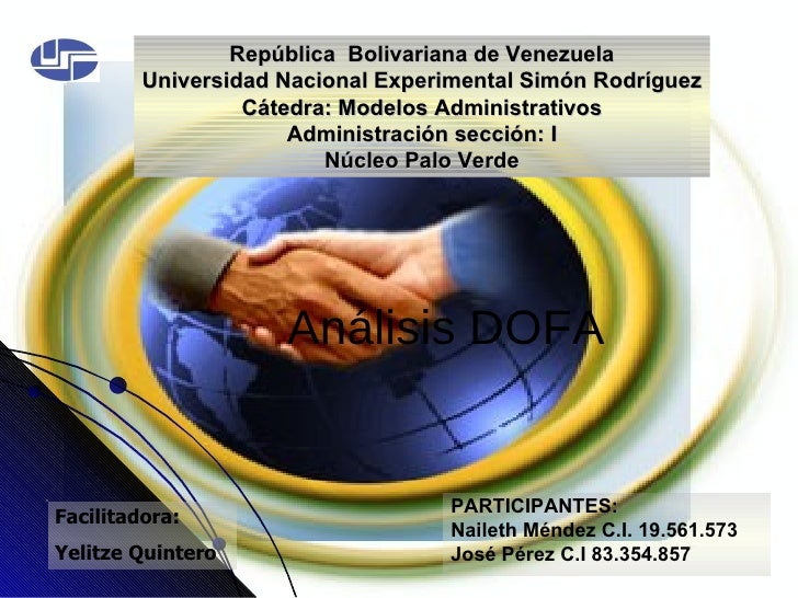 Análisis DOFA PARTICIPANTES: Naileth Méndez C.I. 19.561.573 José Pérez C.I 83.354.857 República  Bolivariana de Venezuela ...
