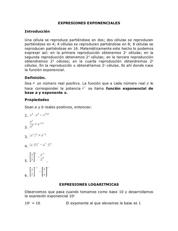 Exponenciales y logaritmos