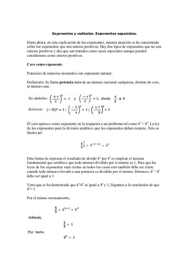 E MATEMÁTICAS                Exponentes y radicales. Exponentes especiales.Hasta ahora, en esta explicación de los exponen...