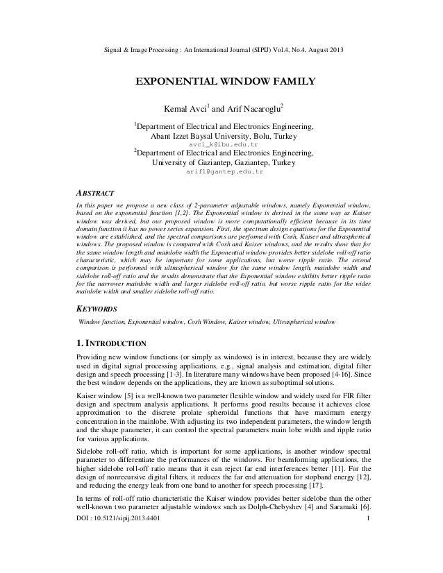 Signal & Image Processing : An International Journal (SIPIJ) Vol.4, No.4, August 2013 DOI : 10.5121/sipij.2013.4401 1 EXPO...