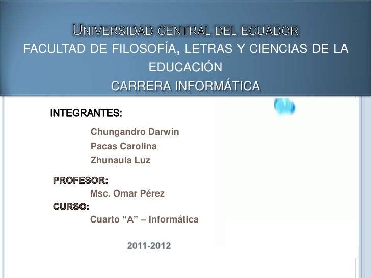 FACULTAD DE FILOSOFÍA, LETRAS Y CIENCIAS DE LA                 EDUCACIÓN             CARRERA INFORMÁTICA         Chungandr...