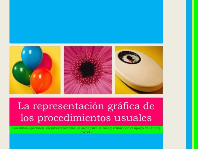 La representación gráfica de los procedimientos usuales Los niños aprenden los procedimientos usuales para sumar y restar ...