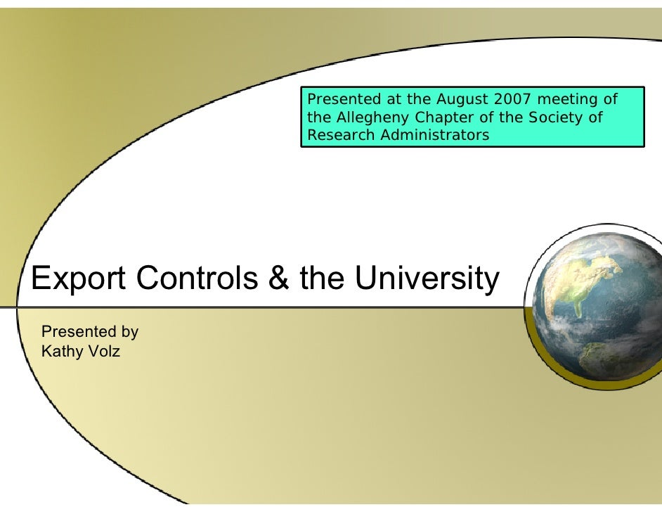 Export Control And Universities