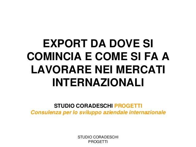 Export, da dove si incomincia