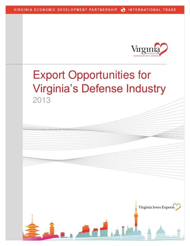 Export Opportunities For Virginia's Defense Industry